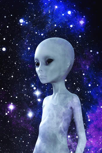 Alien with stars in backround