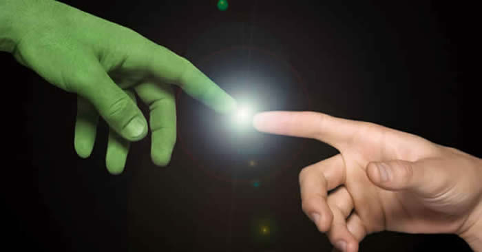 Human and Alien communicating by touching fingers