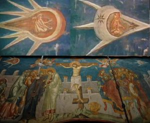 Painted in 1350, the Crucifixion painting showing one ufo chasing another ufo across the sky.