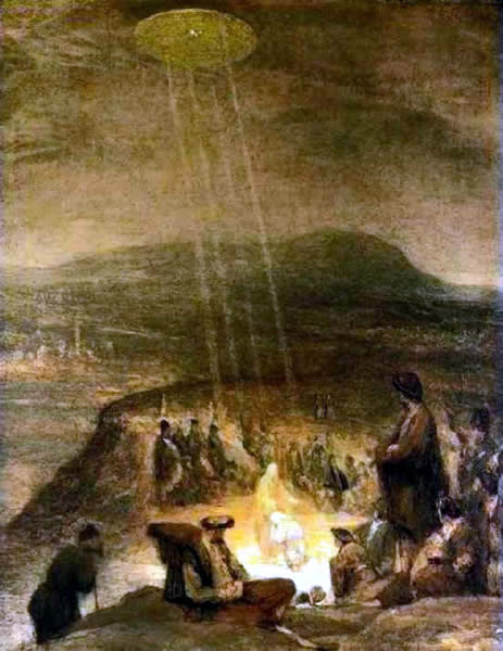1710 painting of Baptism of Christ by Aert de Gelder showing UFO shining light on Christ.