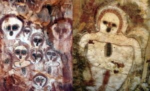 Wandjina cave painting from Kimberley Australia showing alien like figures.