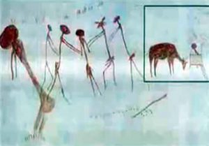 29,000 year old cave painting from Kolo Tanzania showing four entities surrounding a female figure