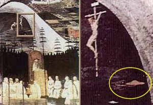 La Tebaide painting by Paolo Uccello from early 1460's showing UFO under a cross.