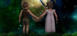 Fate of man - children holding hands looking at Earth
