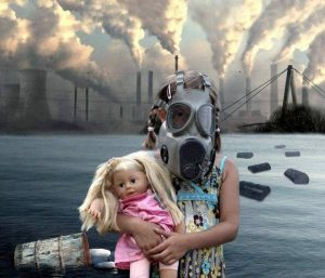Fate of man pollution girl with gas mask