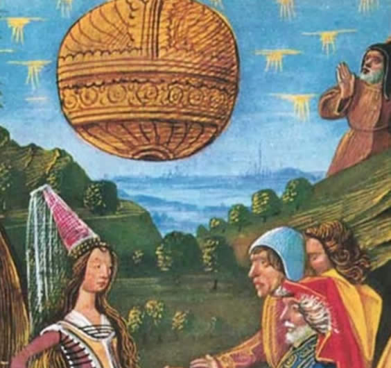 1388 French picture from Le Livre Des Bonnes Moeurs showing possible UFO.