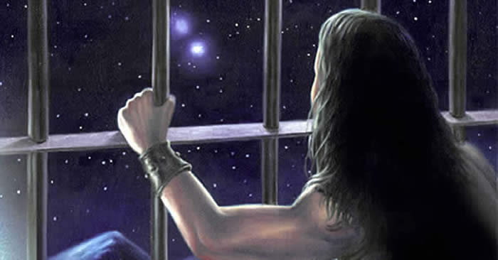 Human Exile Prison Planet Future prisoner of Earth - Man looking through bars of window into outer space.