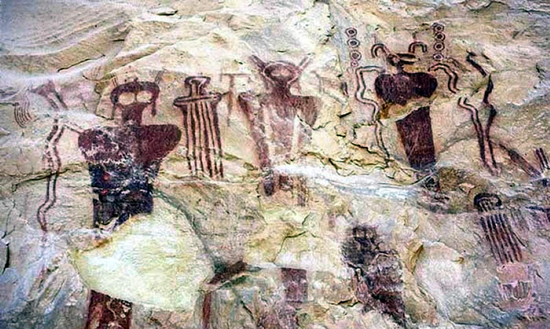 Native American rock art showing alien like beings from Sego Canyon, Utah. Estimated to 5,500 BC.
