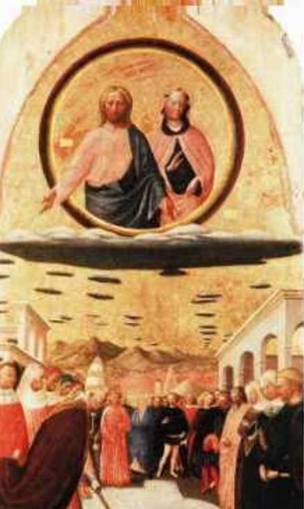 1388-1440 painting Miracle of the Snow, by Masolino Da Panicale showing 2 beings in circle type cloud. Possibly aliens.