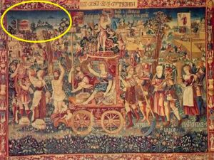 1538 tapestry named Summer's Triumph from the Bayerisches National Museum showing possible Unidentified Flying Objects.